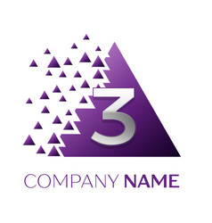 silver number three logo in purple pixel triangle vector image