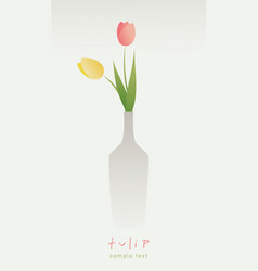 simple and stylized tulip flowers inside a bottle vector image