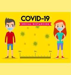 Social distancing keep distance in public people vector