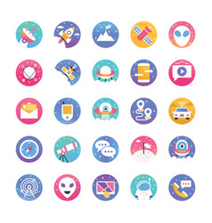 Space and galaxy gradient flat icons pack vector