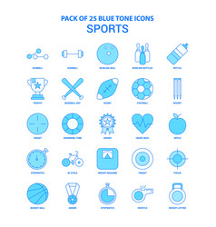 Sports blue tone icon pack - 25 icon sets vector