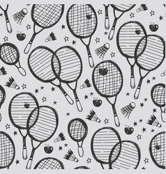Sports tennis and badminton seamless pattern vector