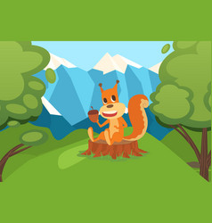 squirrel with acorn sitting on stump in clean vector image