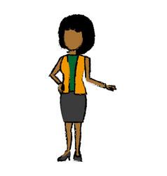 standing woman female cartoon wearing skirt vector image