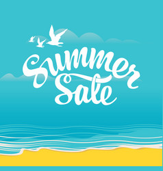 summer sale banner with relax tropical landscape vector image
