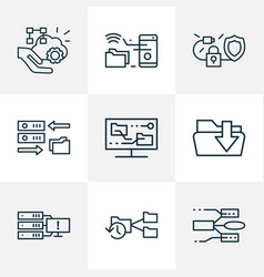 tech icons line style set with system backup vector image