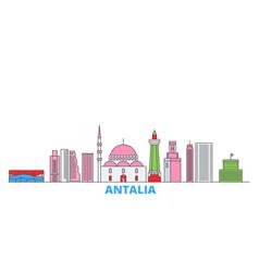 Turkey antalia line cityscape flat vector