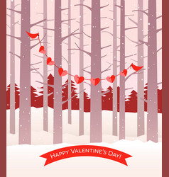 valentine cardinals holding string hearts vector image