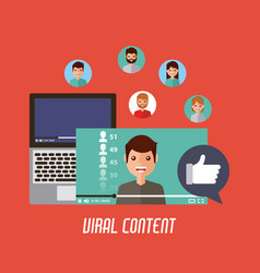 Viral content mobile video like love comment vector