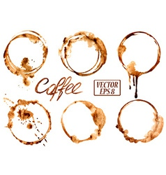 Watercolor coffee stains icons vector image