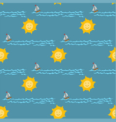 weather seamless pattern sea vector image