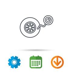 Wheel pressure icon tire service sign vector
