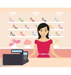 Woman in the shop vector