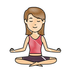 Woman practicing yoga character vector