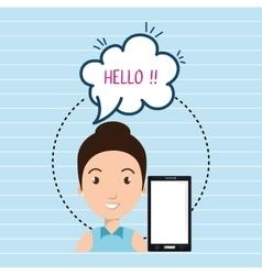 Woman smartphone bubble speech vector