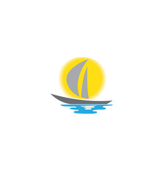 yacht sealing with big sun and sea for logo design vector image