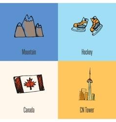 Canadian National Symbols Icons Set vector image