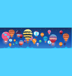 colorful air balloons flying in night sky banner vector image