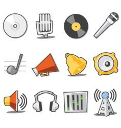 music icons fresh collection vector image