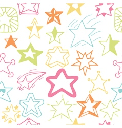 Seamless pattern with hand drawn stars sketchy vector