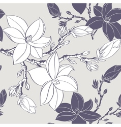 seamless vintage pattern with magnolia flower vector image vector image