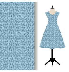 dress fabric with blue royal pattern vector image