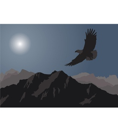 eagle flying over the mountains vector image vector image