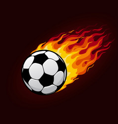 fire flying football ball for soccer poster vector image vector image