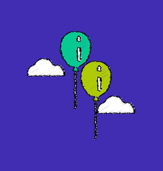 flat shading style icon two balloons in sky vector image vector image