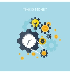 Flat time is money concept background Movey vector image