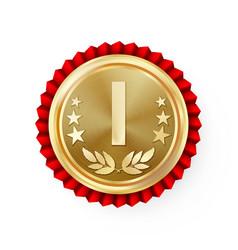 gold 1st place rosette badge medal vector image