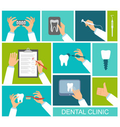 hands of dentist vector image vector image