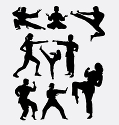 Martial art man woman and kid silhouette vector image vector image