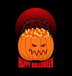 pumpkin basket for halloween trick or treat corn vector image vector image