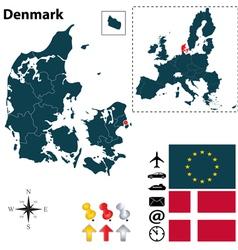 Denmark and European Union map vector image vector image