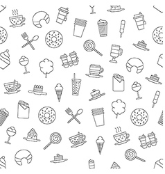 Dessert pattern black icons vector image