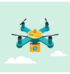 Drone quadcopter with camera flat 3d vector image vector image