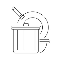 Kitchen cookware line icon or logo vector