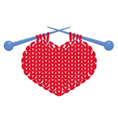 Knitted heart isolated vector image