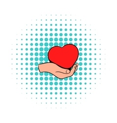 Red heart in hand icon comics style vector image vector image