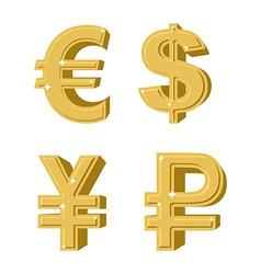 Set of golden symbols money Russian ruble Euro vector image vector image