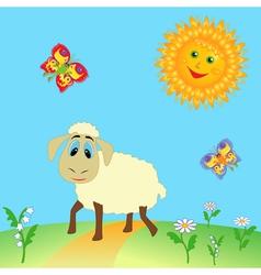 Sheep on meadow vector image vector image