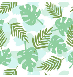 tropical leafs silhouette pattern vector image