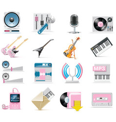 audio and music icon set vector image vector image