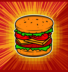 burger on radial background with vector image