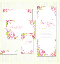 card with pink roses and chevron vector image vector image