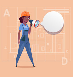cartoon female builder holding megaphone making vector image