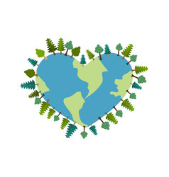 earth heart i love planet trees on ground forest vector image vector image