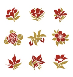 flowers - logo template set vector image vector image