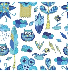 Fresh blue spring doodle pattern vector image vector image